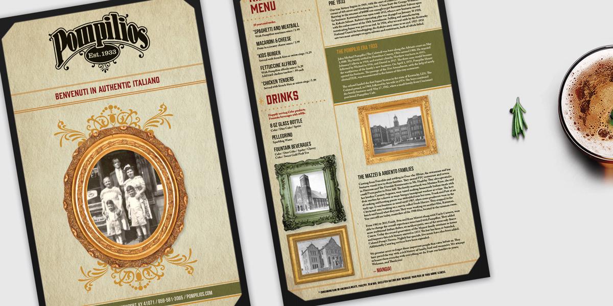 Pompilio's Menu Inside page